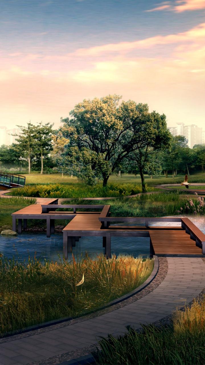 Download Wallpaper 720x1280 3d, photoshop, nature, landscape Samsung ...