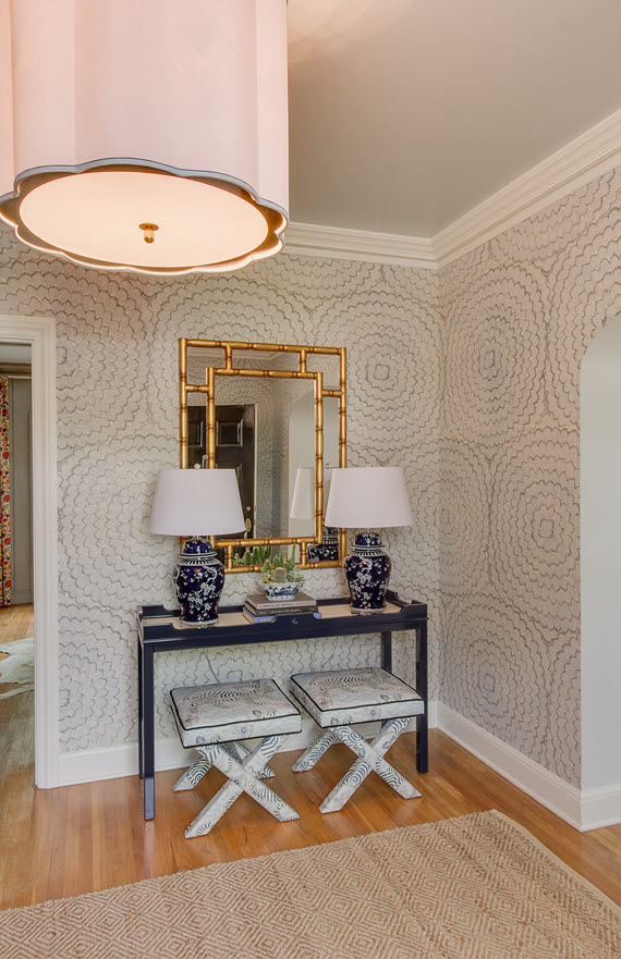 Blue and white foyer with Clarence House Tibet fabric X benches and 570x881