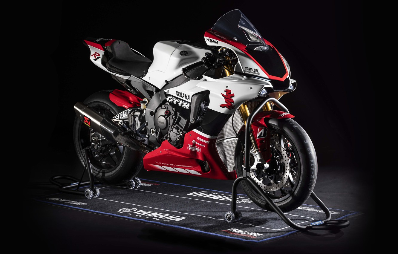 Wallpaper motorcycle bike Yamaha YZF R1 2019 GYTR images for 1332x850