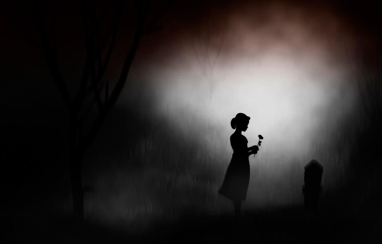 Wallpaper flower girl night memory silhouette headstone 1332x850