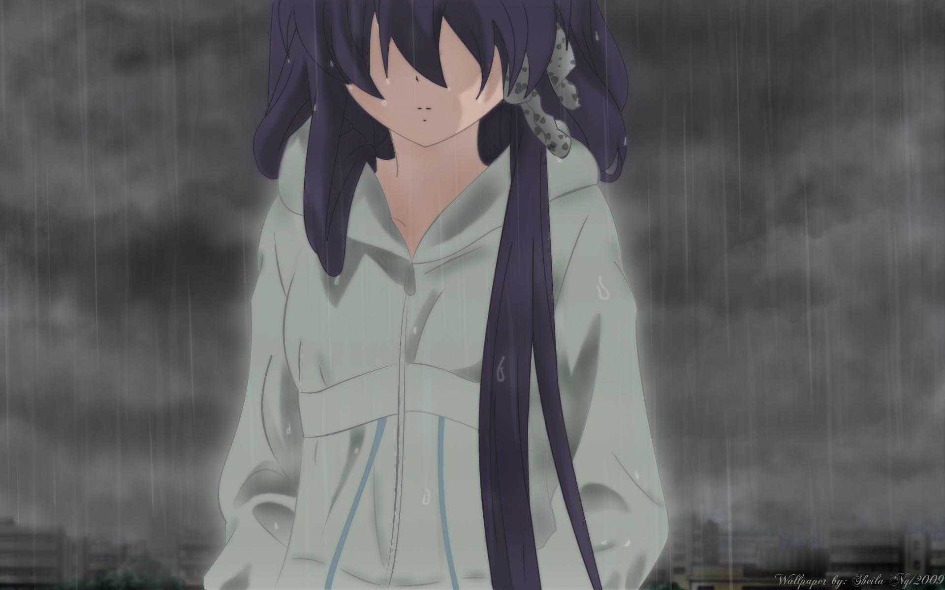 Sad anime girl wallpaper in the rain Wallpaper by Sheila 2009 1920x1200