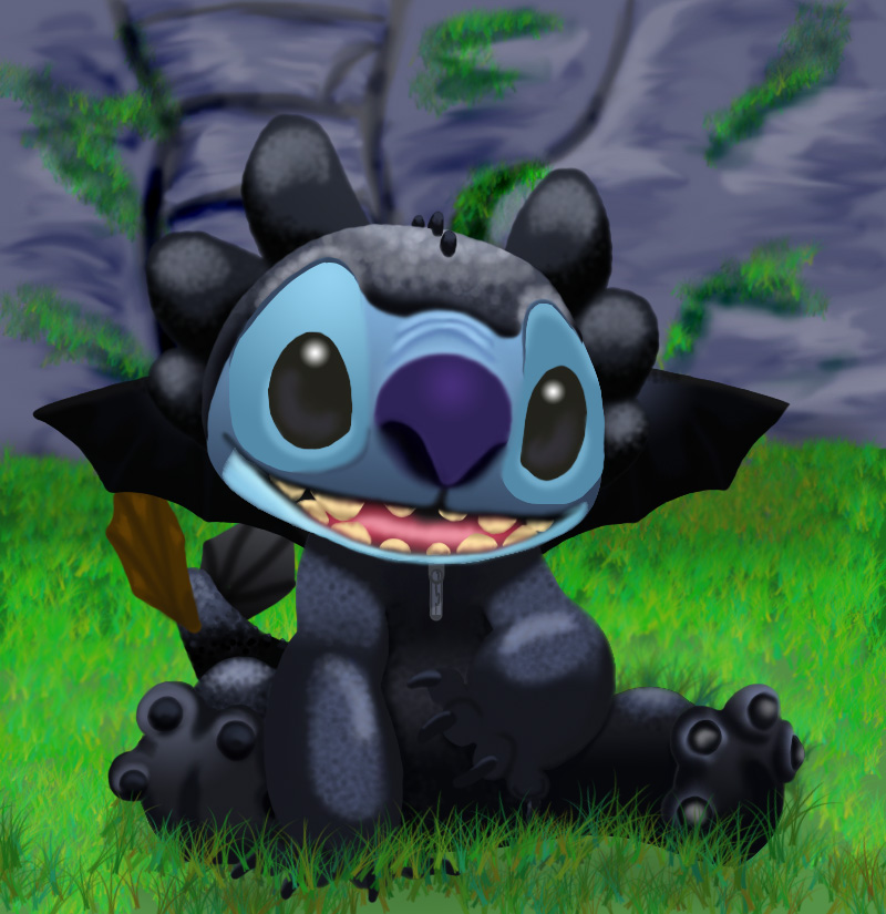 stitch as toothless finished by stitch blue 800x825
