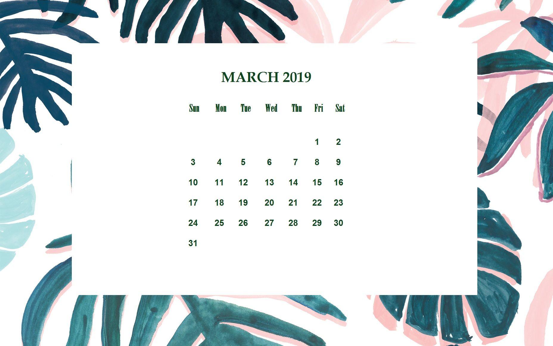 Floral March 2019 Desktop Calendar MaxCalendars in 2019 1856x1161