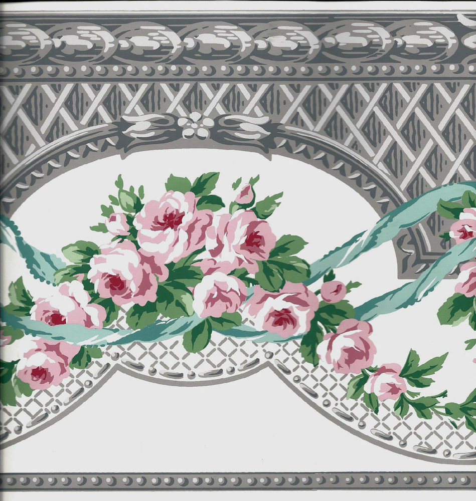 Victorian Pink Roses with Grey Architectural Design Wallpaper Border 949x1000