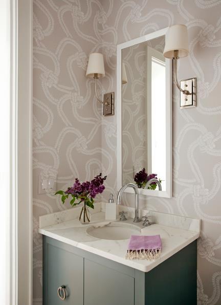 Lilac Wallpaper in Powder Room   Liz Caan Interiors 432x596