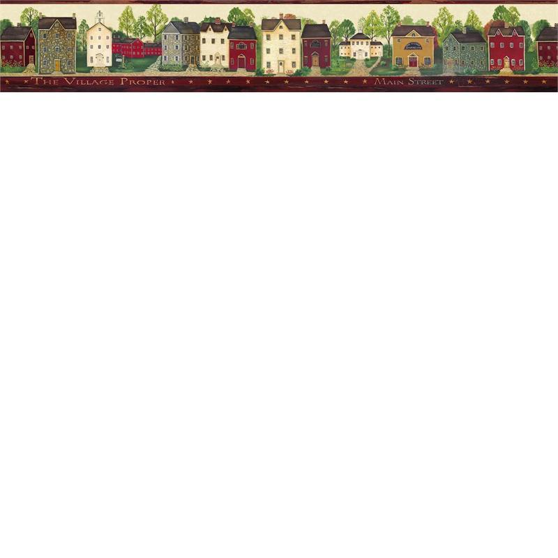 Red Main Street Wallpaper Border   Rustic Country Primitive 800x800