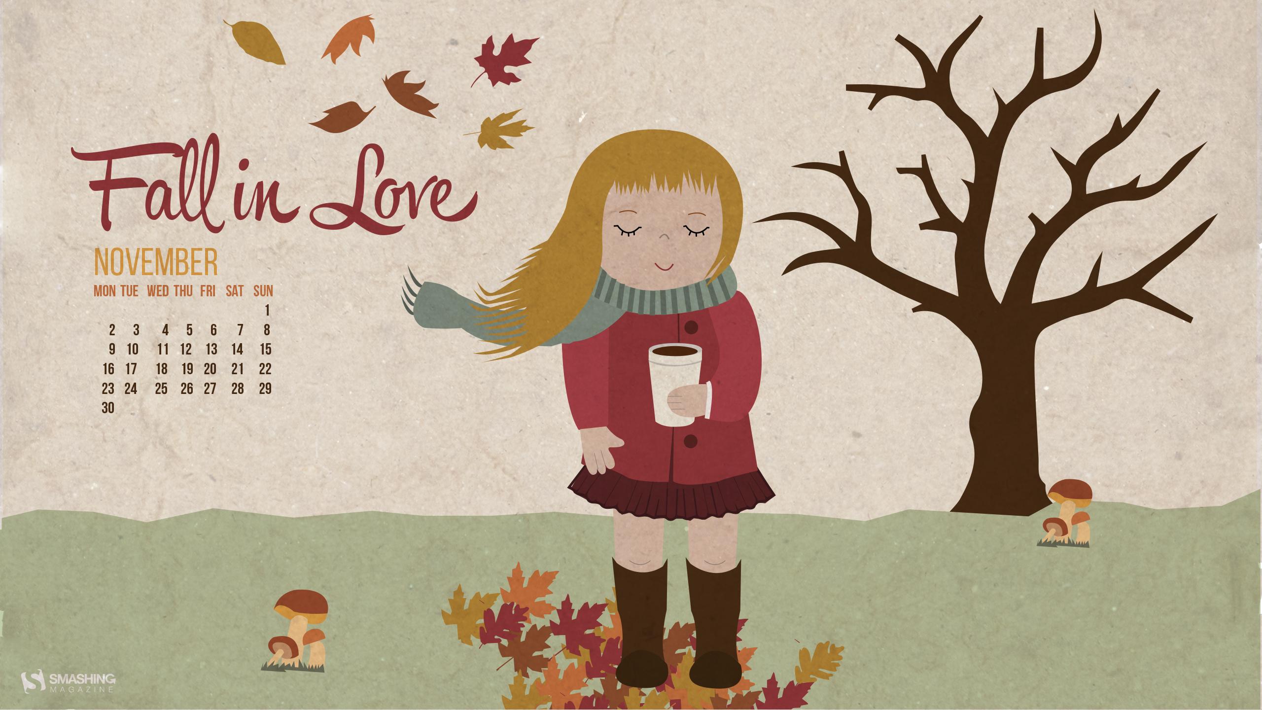 Autumn Love November 2015 Calendars Desktop Wallpaper-2560x1440