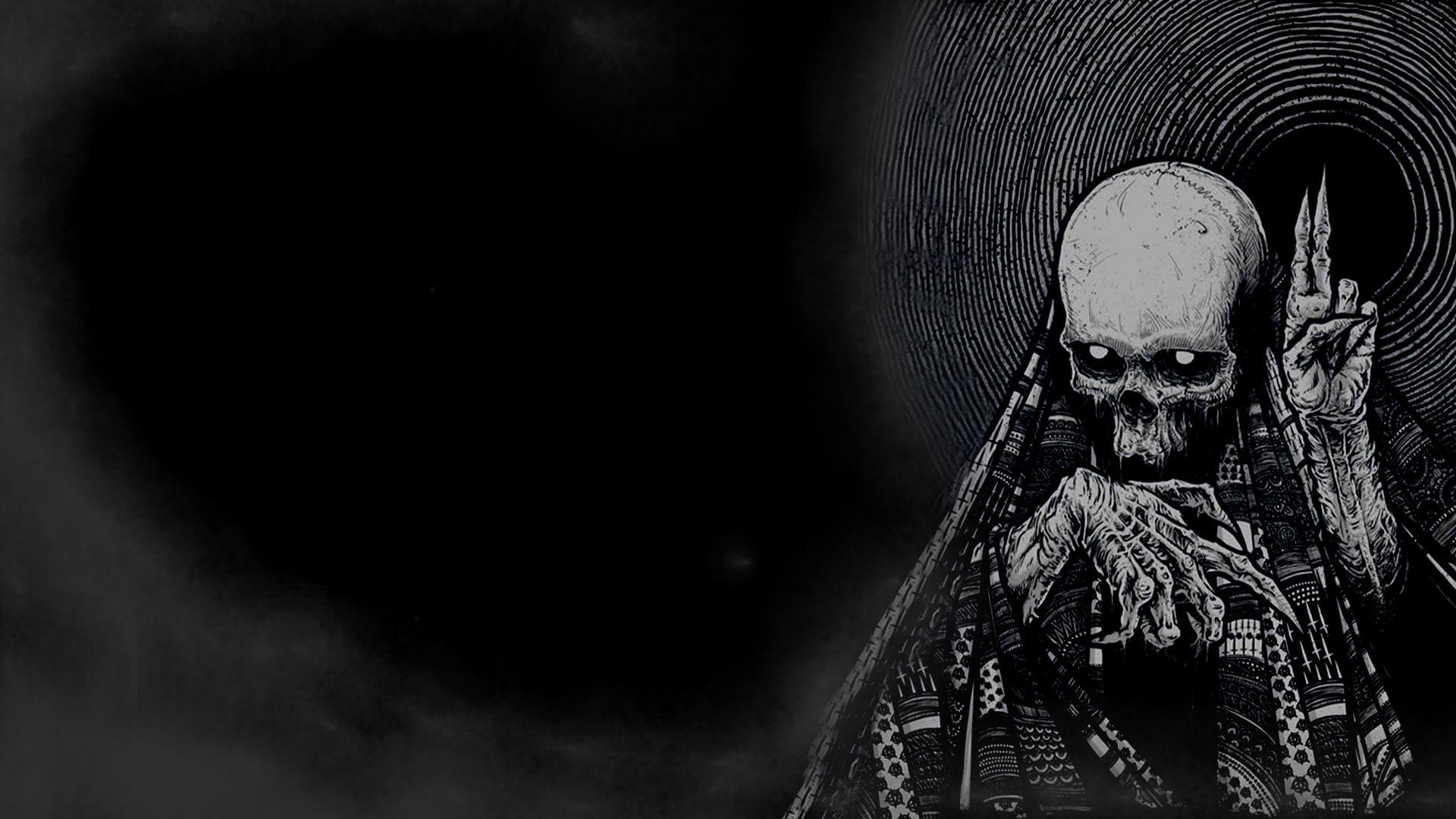 Hd wallpaper evil - Dark Horror Skeleton Skull Occult Evil Wallpaper 1920x1080 28014
