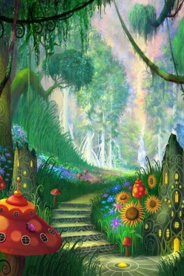 hd dream fantasy forest iphone 4 wallpapers backgrounds 640x960