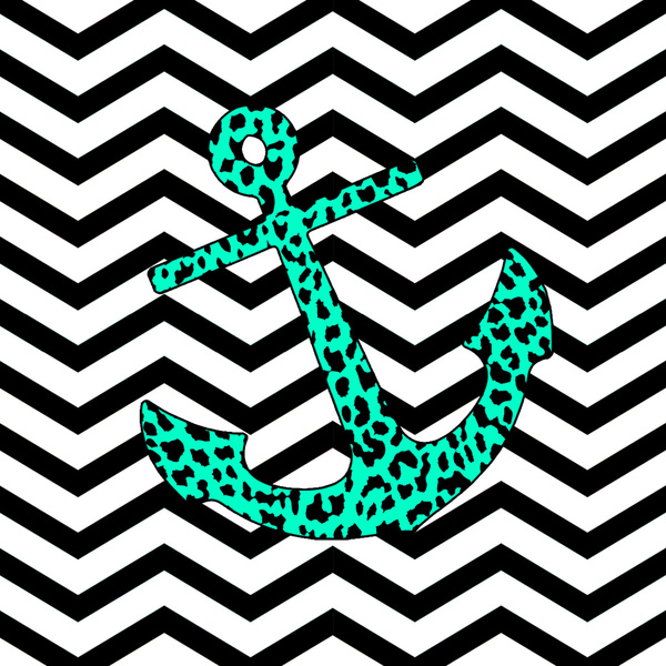Mint Leopard Chevron Anchor Art Print by M Studio Society6 600x600