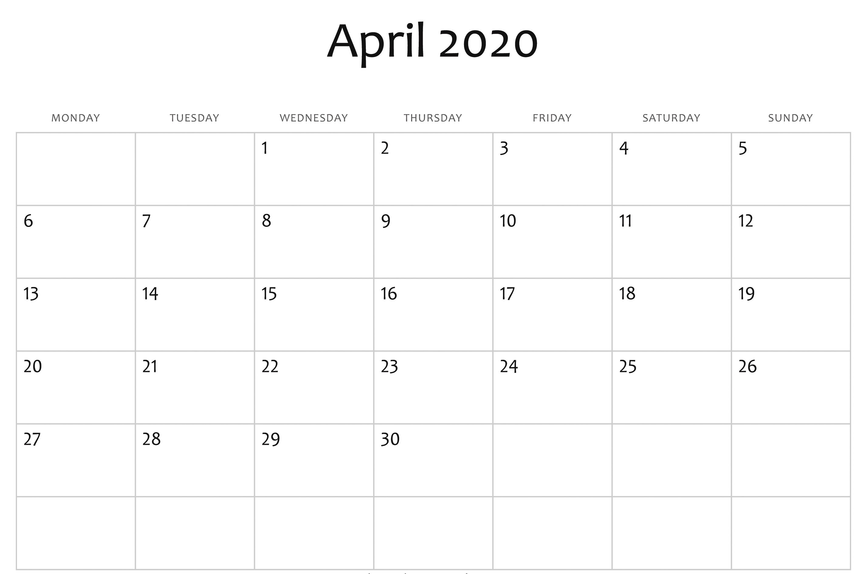 Editable April 2020 Calendar Printable Template With Holidays 2850x1892