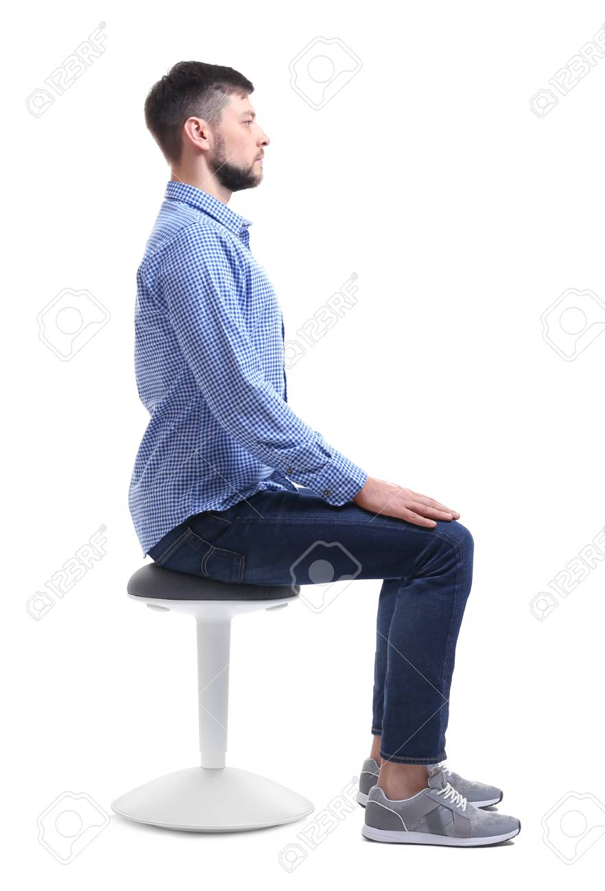 Posture Concept Man Sitting On Chair Against White Background 882x1300