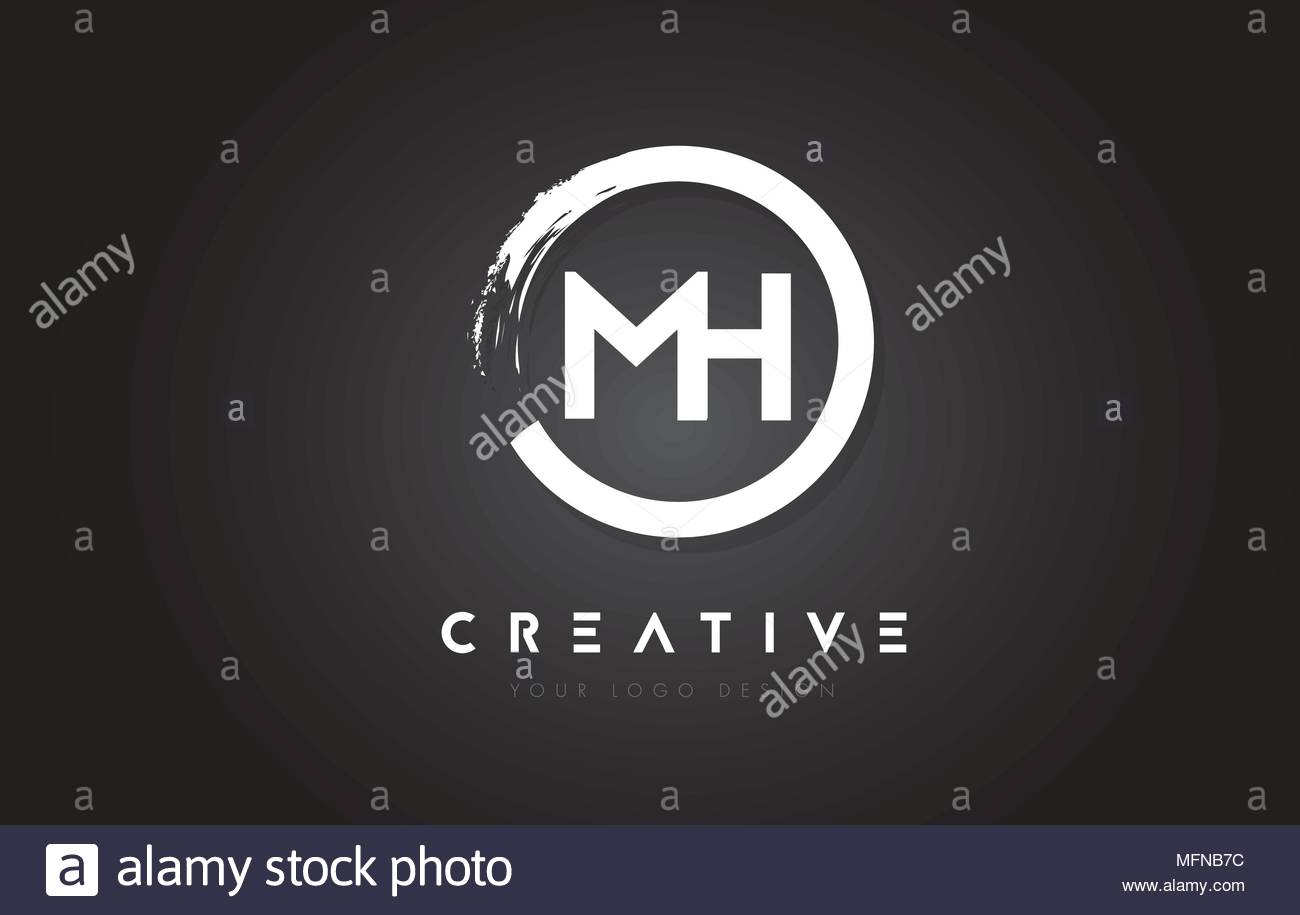 MH Circular Letter Logo with Circle Brush Design and Black 1300x915