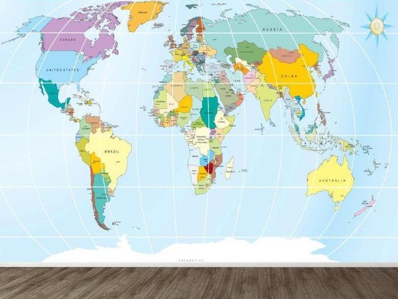 World Map Wallpaper For Kids WallpaperSafari - World map mural for kids