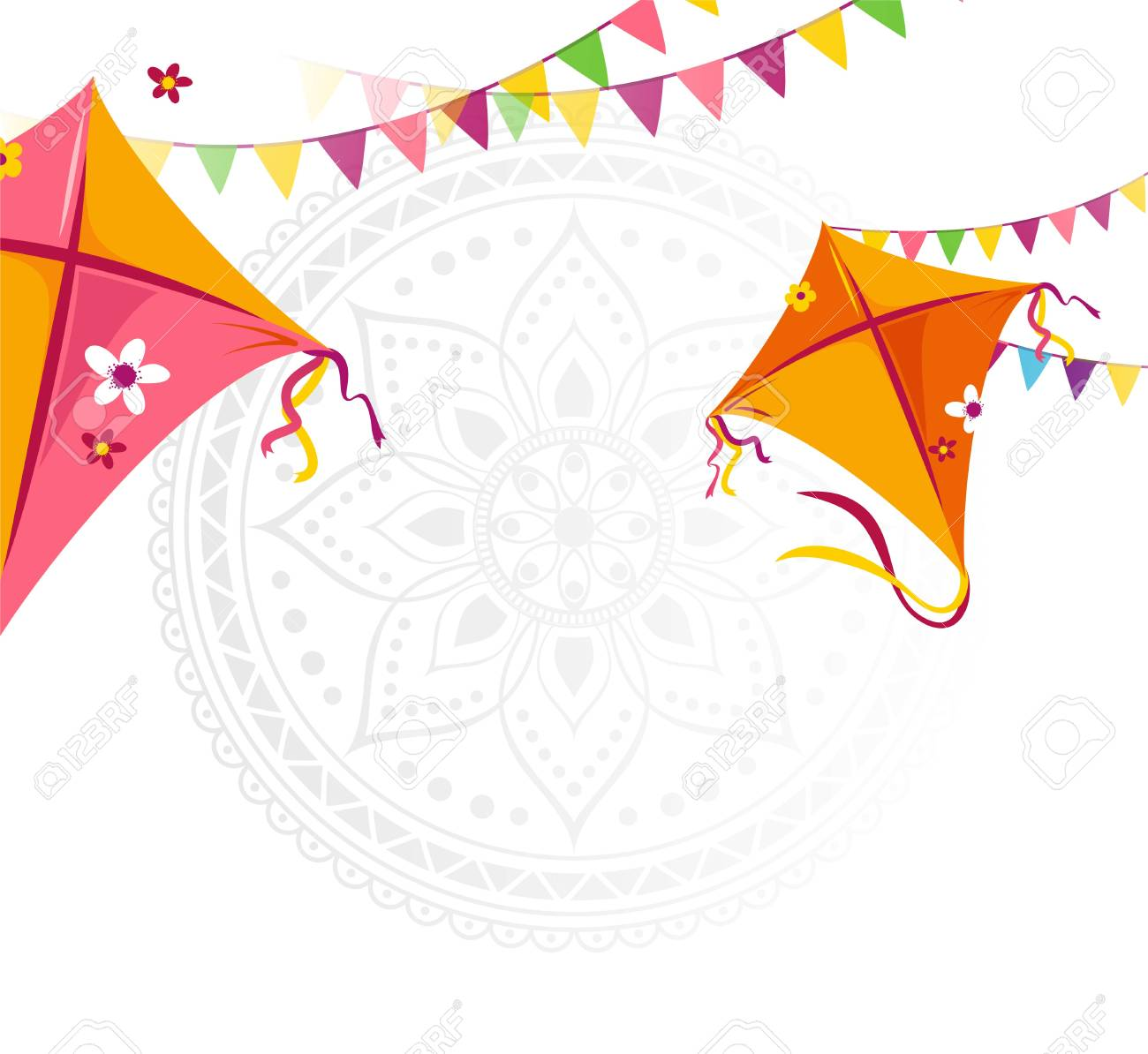 Happy Makar Sankranti Holiday Background With Kites And Bunting 1300x1194