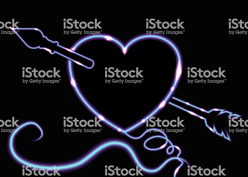 Cute Luminescent Neon Heard With Arrow And Swirls Curly Lines 1024x732