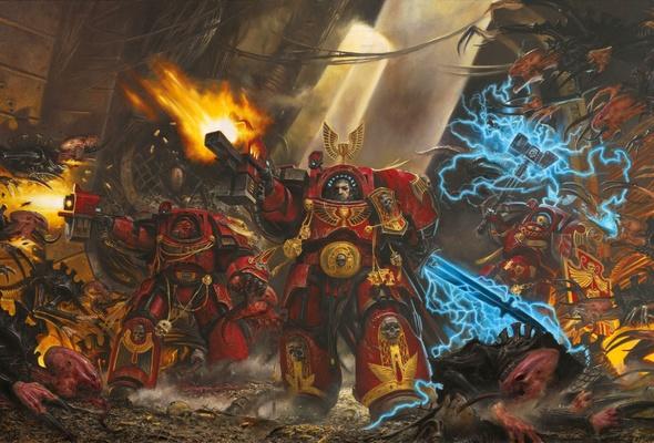 warhammer 40k blood angels armor gun desktop wallpaper Games 590x400