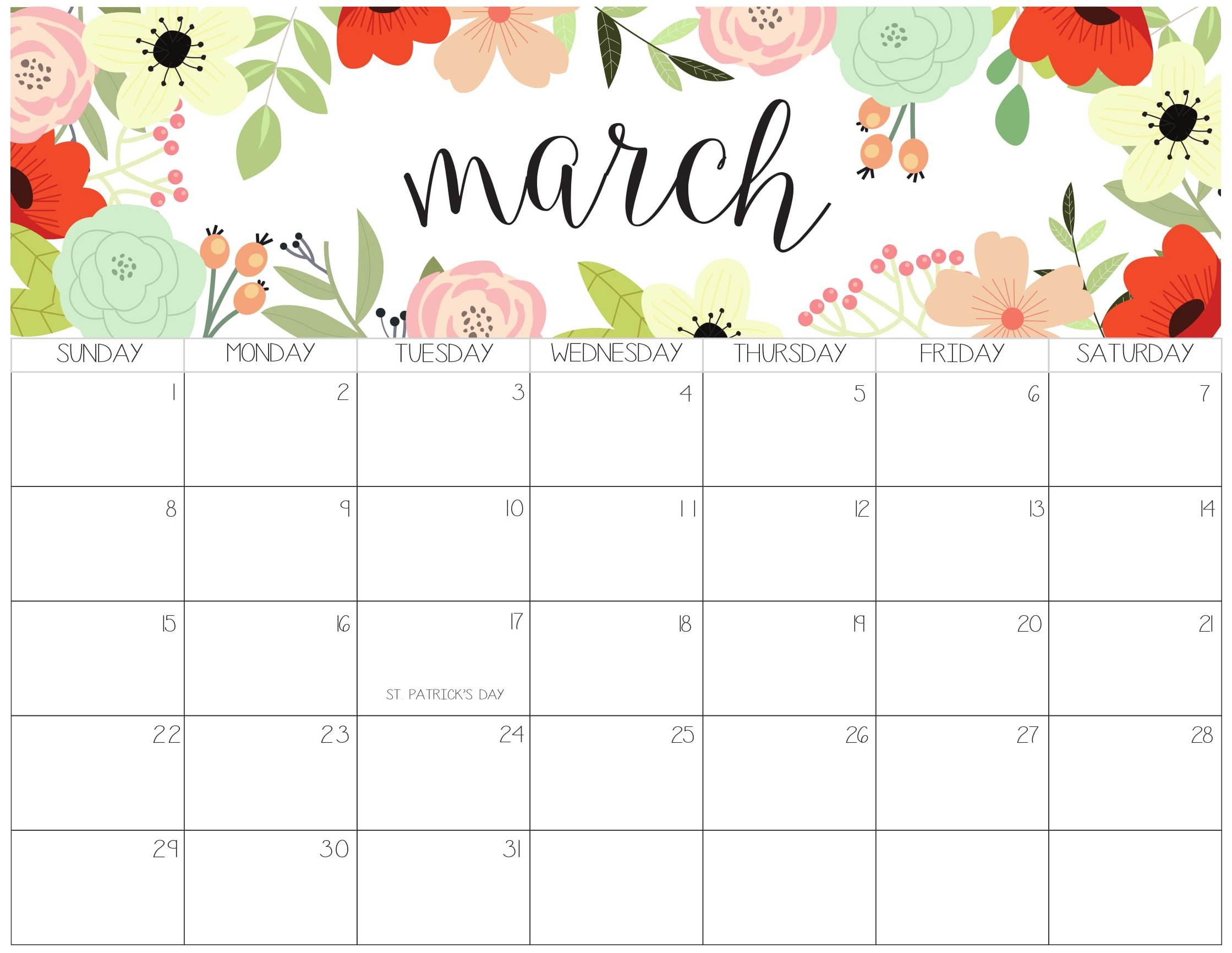 Cute March 2020 Calendar Archives   2019 Calendars for Students 2239x1732