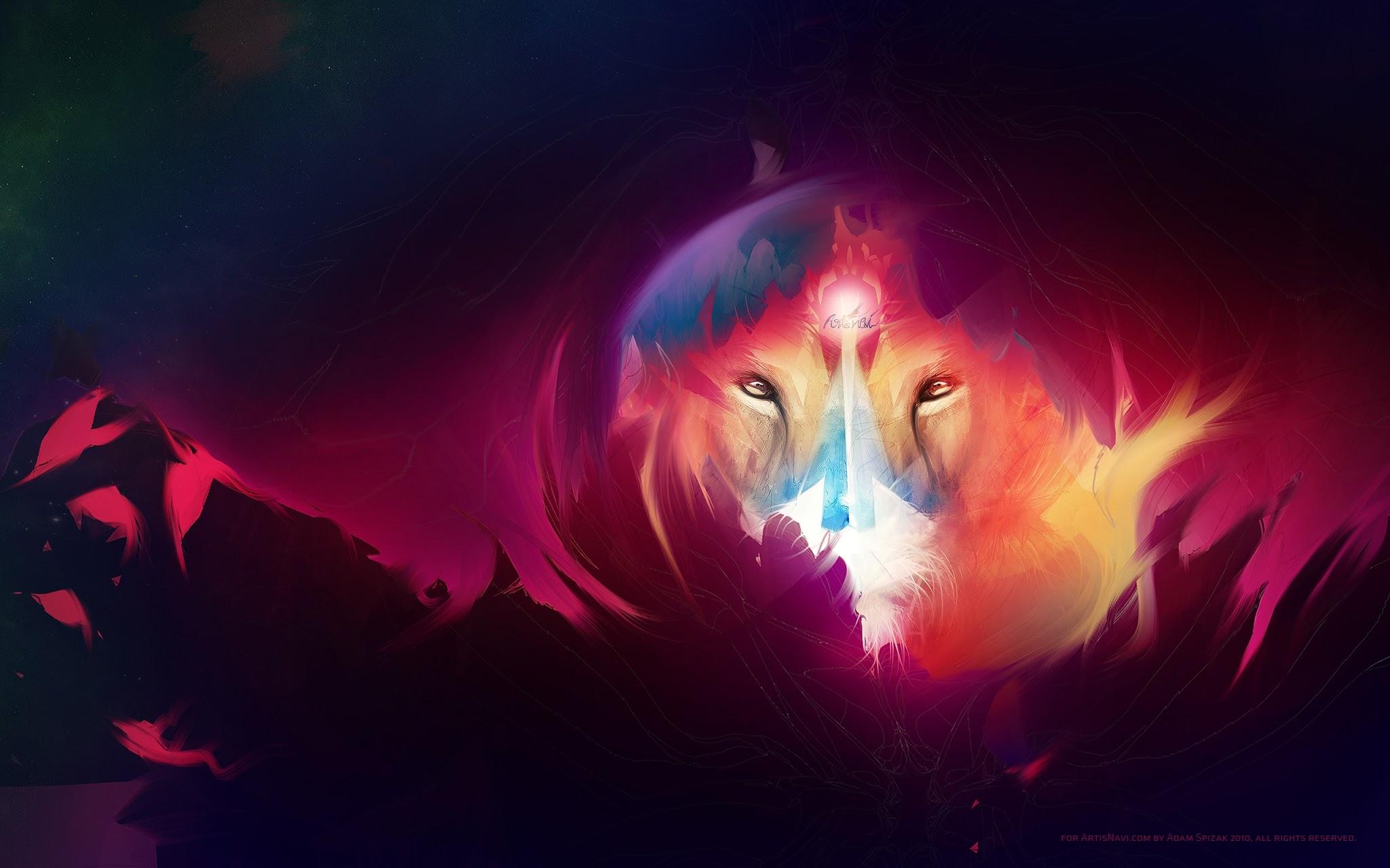 Colorful lion by ArtisNavi 2048x1280