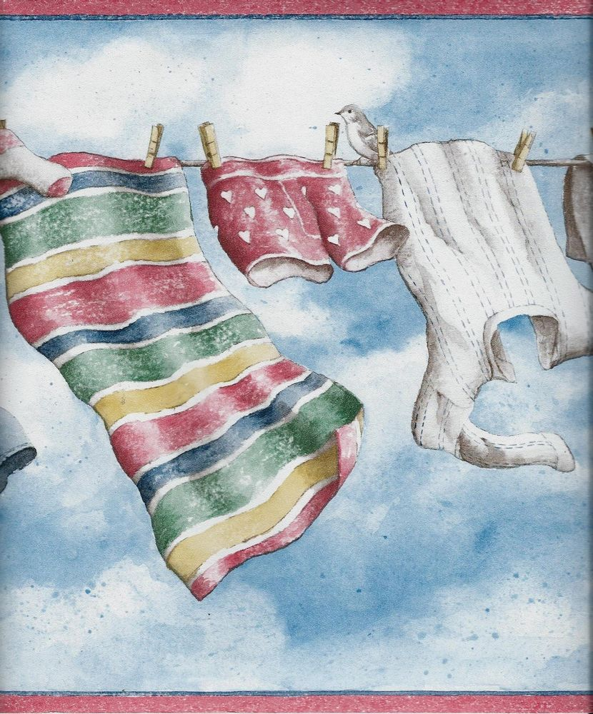 Laundry Day Blue Clouds Red Trim Wallpaper Border eBay 830x1000