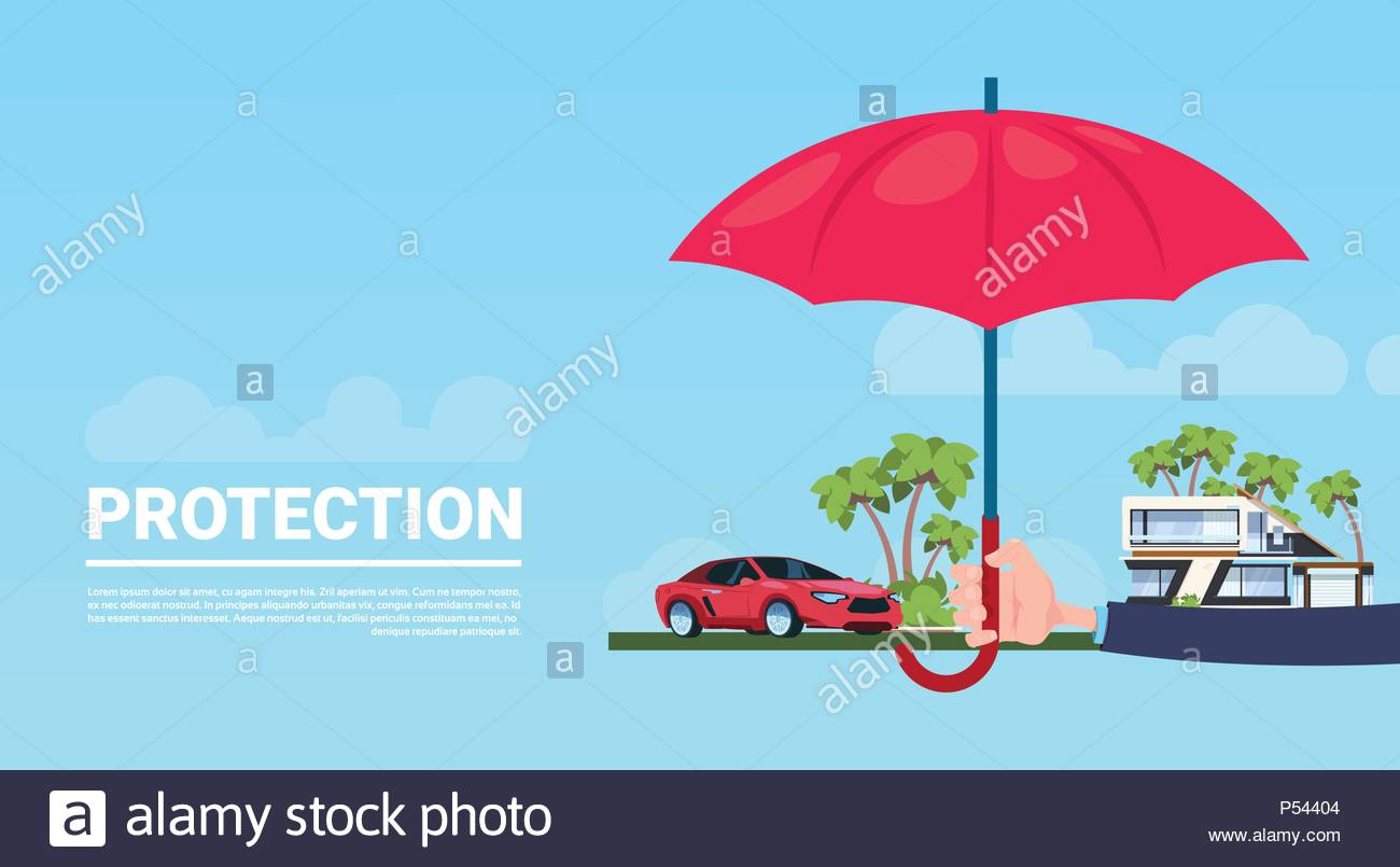 insurance service hand umbrella protective house car on blue 1300x805