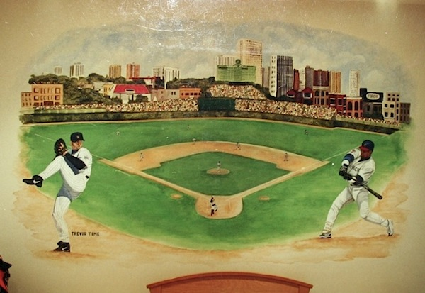 vintage boys baseball theme room with baseball field mural 600x413