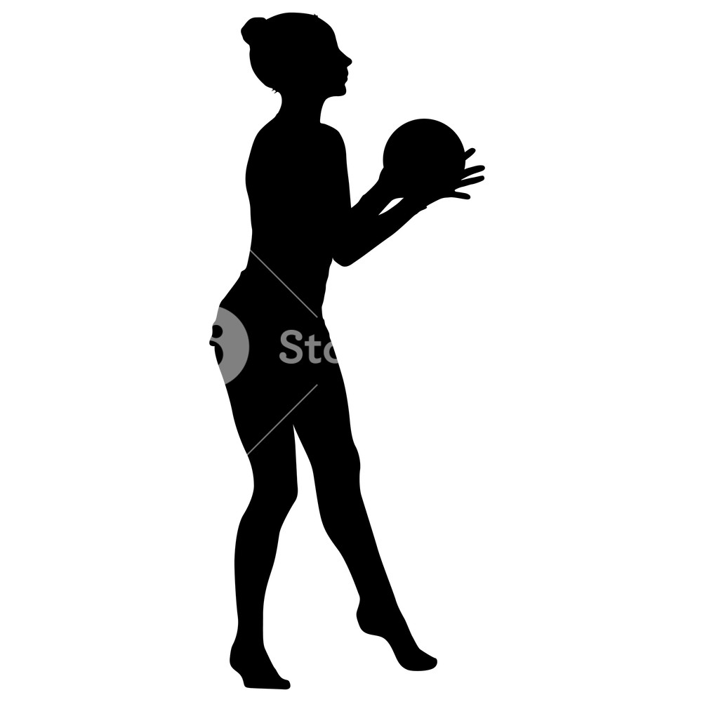 Silhouette girl gymnast with the ball on white background Royalty 1000x1000