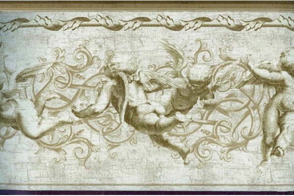 Home Brown Flying Angels Wallpaper Border 600x400