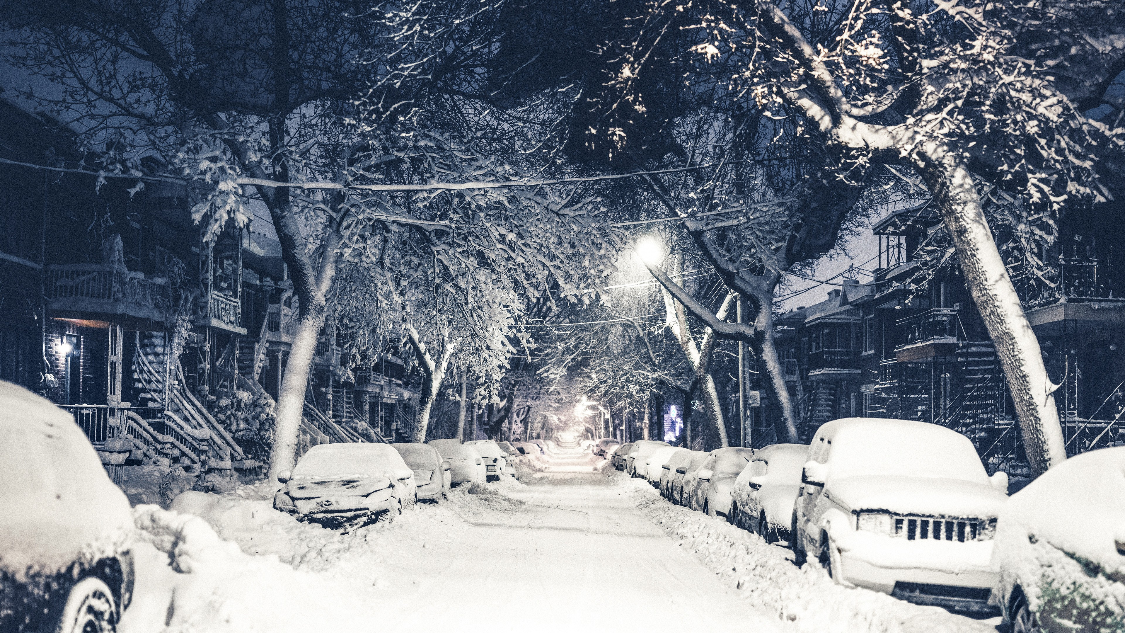 snow 5k winter street 4k New York 3840x2160