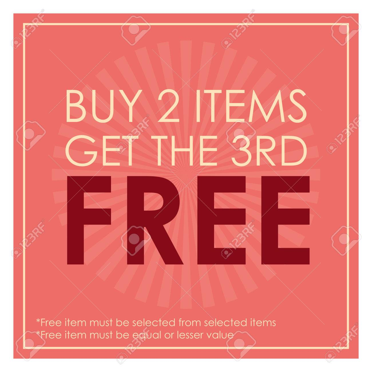 Pink Square Buy 2 Items Get The 3rd Poster Leaflet Handbill 1300x1300
