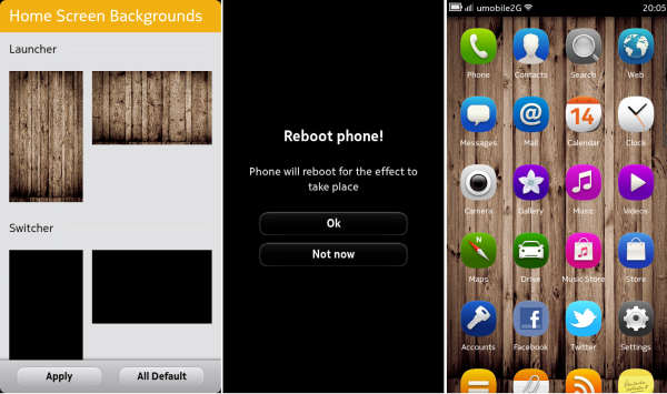 Change homescreen background of Nokia N9 with Home Screens Background 600x355