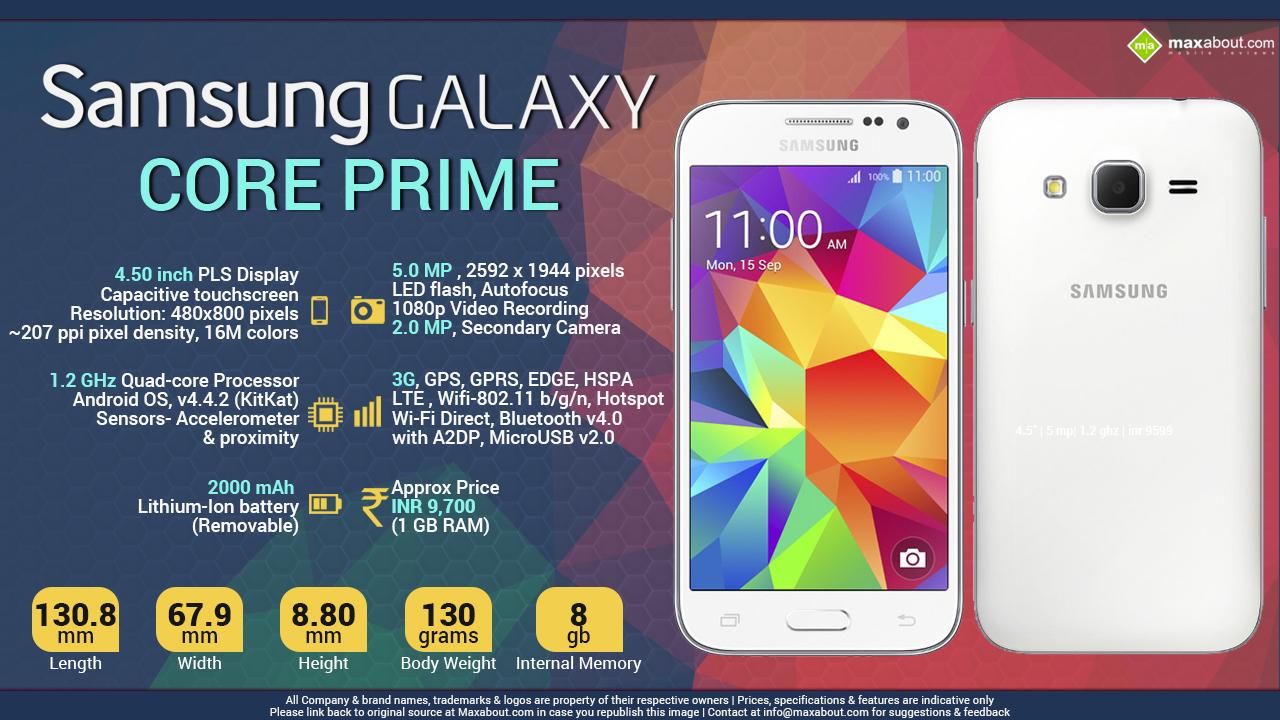 ... galaxy core prime 4 5 inch 480x800 pixels pls display quad core 1 2