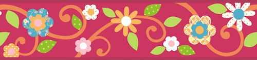 Red Floral Scroll Peel and Stick Kids Wallpaper Border 500x118