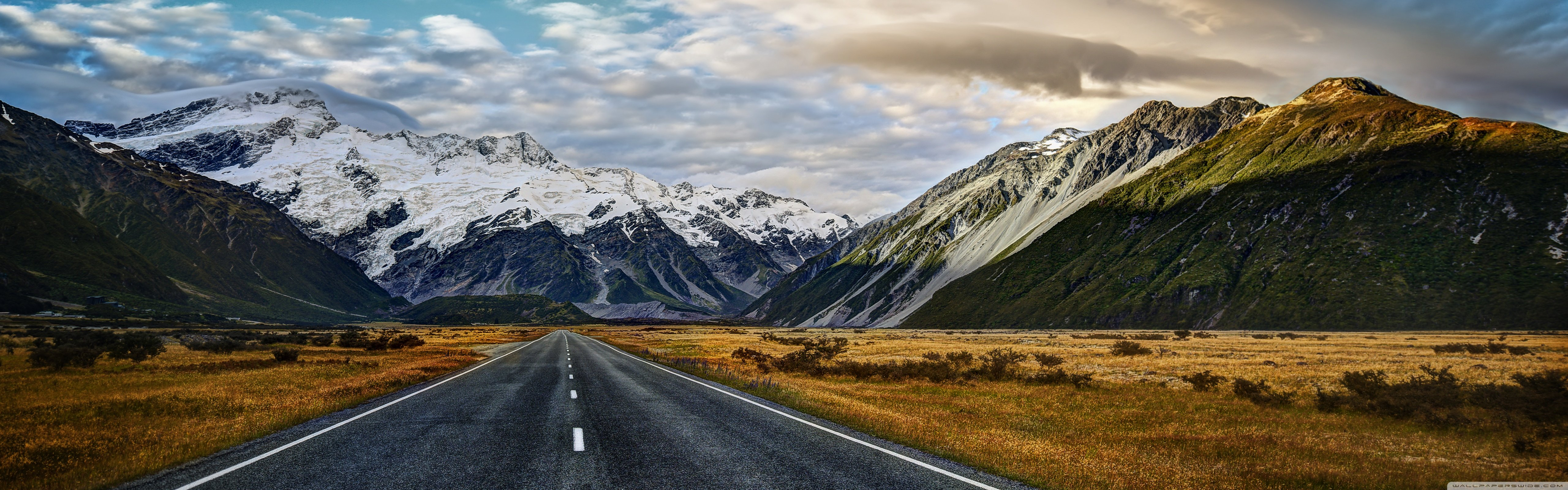 Road To Mount Cook 4K HD Desktop Wallpaper for 4K Ultra HD TV 5120x1600