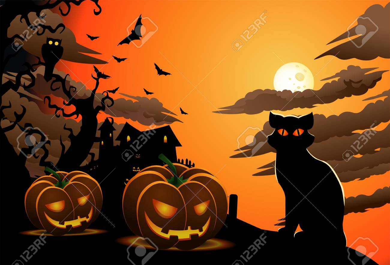 Illustration Of Scary Cat On Halloween Wallpaper With Carved 1300x882