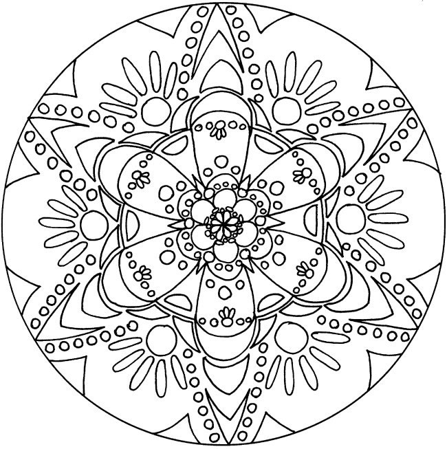 Printable Mandala Coloring Pages For Adults 650x653