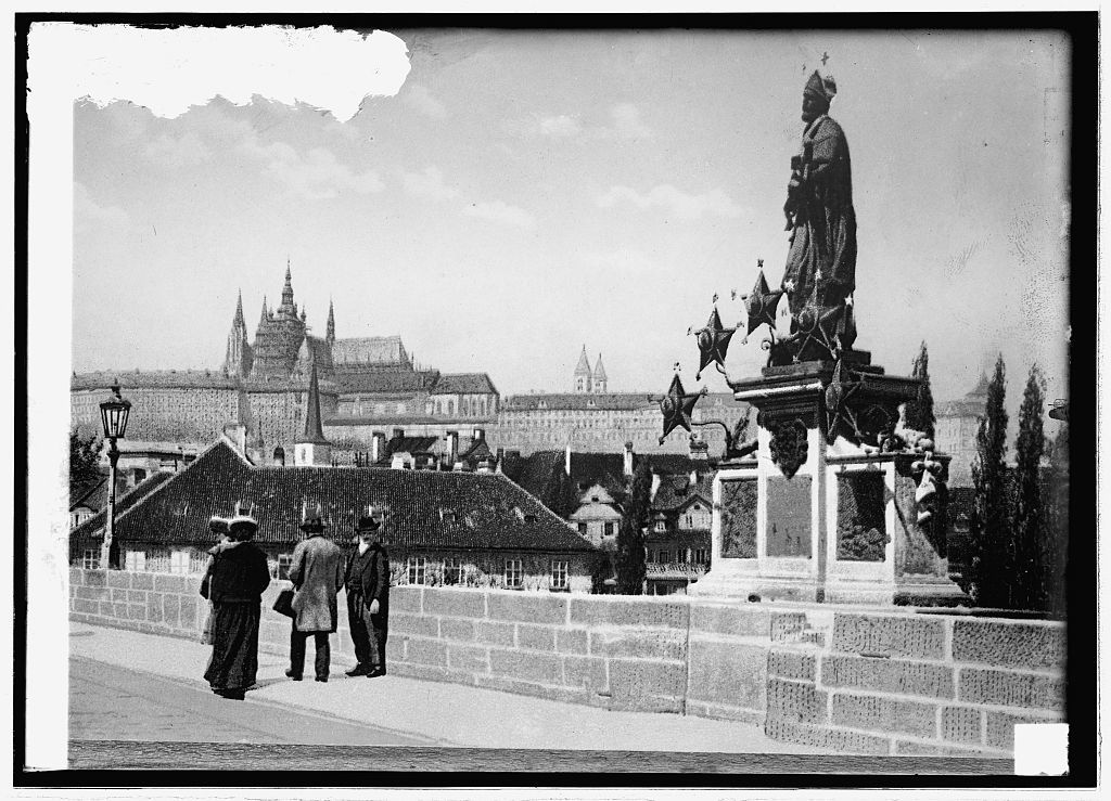 Germany Prague Statue to Patron Saint Cathedral in background 1024x739