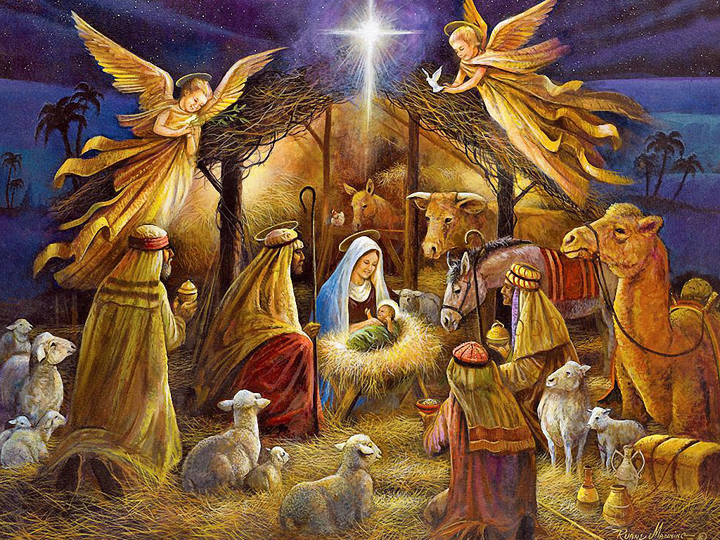 Christmas Wallpaper Nativity Scene Wallpapers9 1024x768