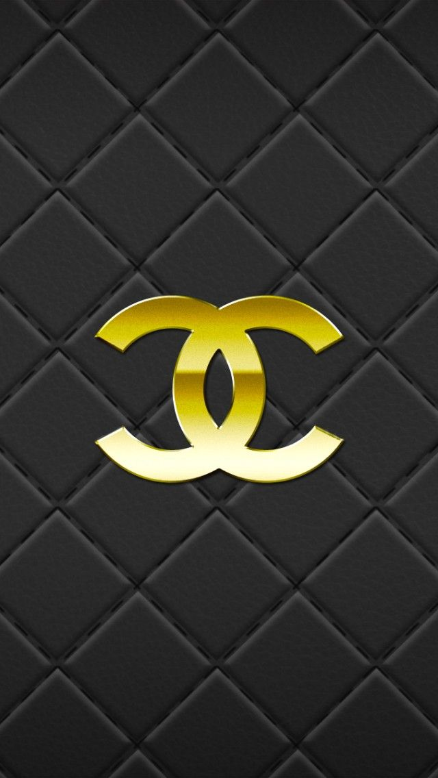 Chanel gold and black quilted iphone phone wallpaper background 640x1136
