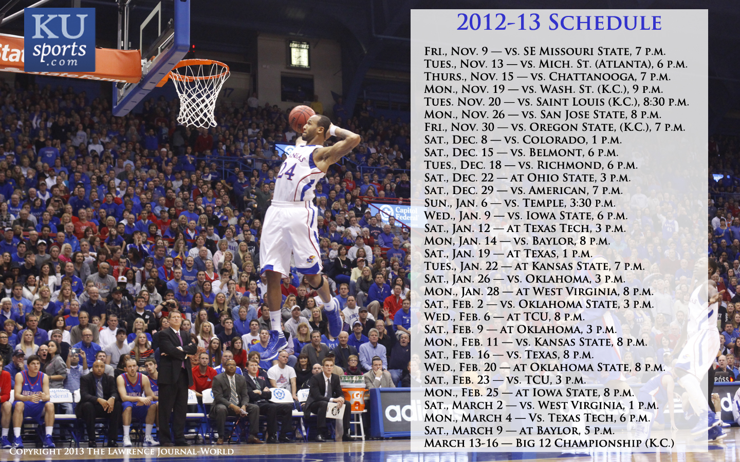 2012 13 Kansas mens basketball wallpapers KUsportscom 1440x900