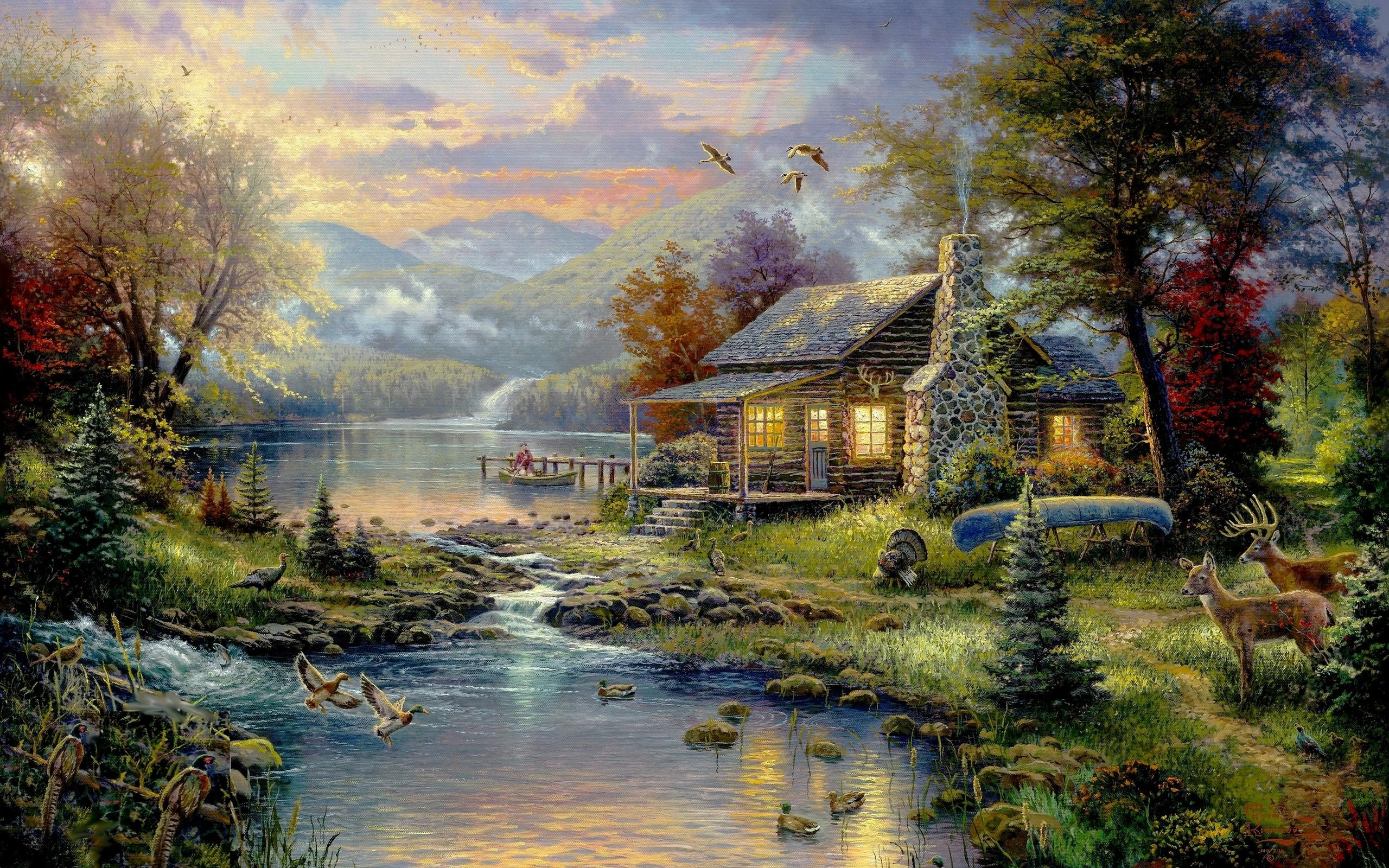 nature birds animals houses rainbows artwork wallpaper background 2560x1600