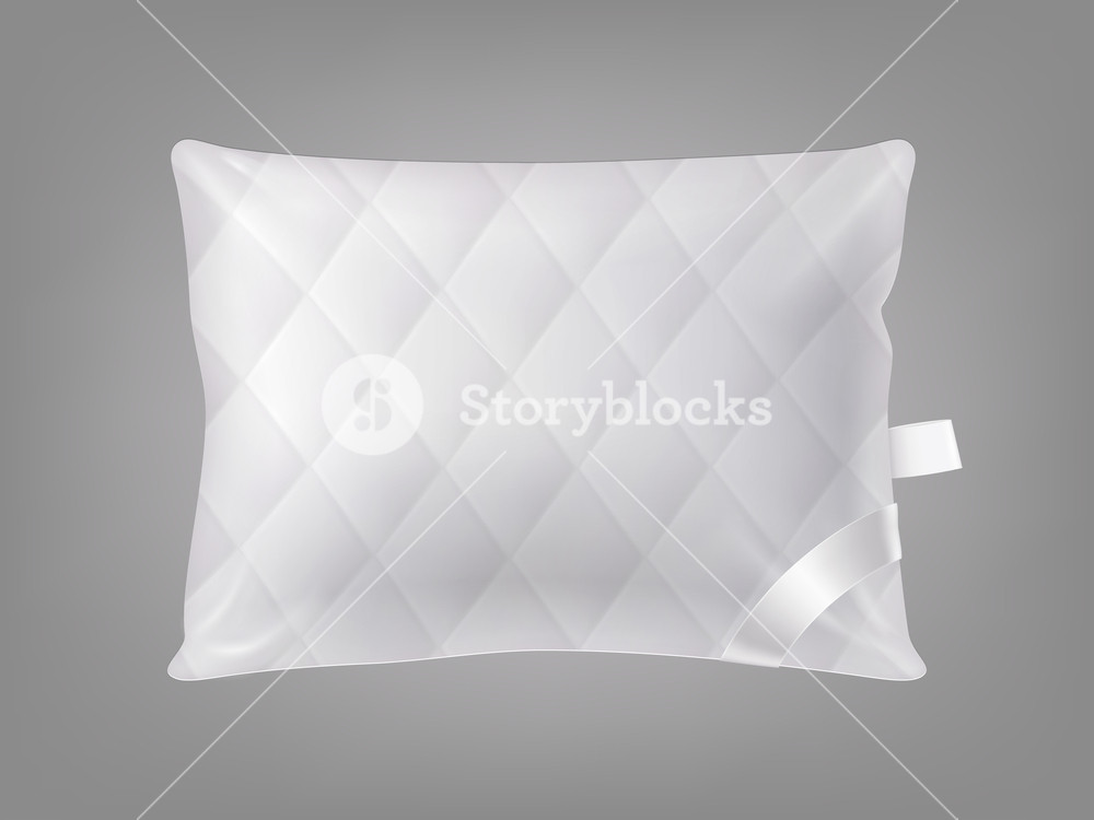 Vector 3d realistic stitched comfortable square pillow isolated 1000x750