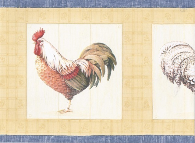Blue Yellow Cream Roosters Wallpaper Border   Traditional   Wallpaper 640x470