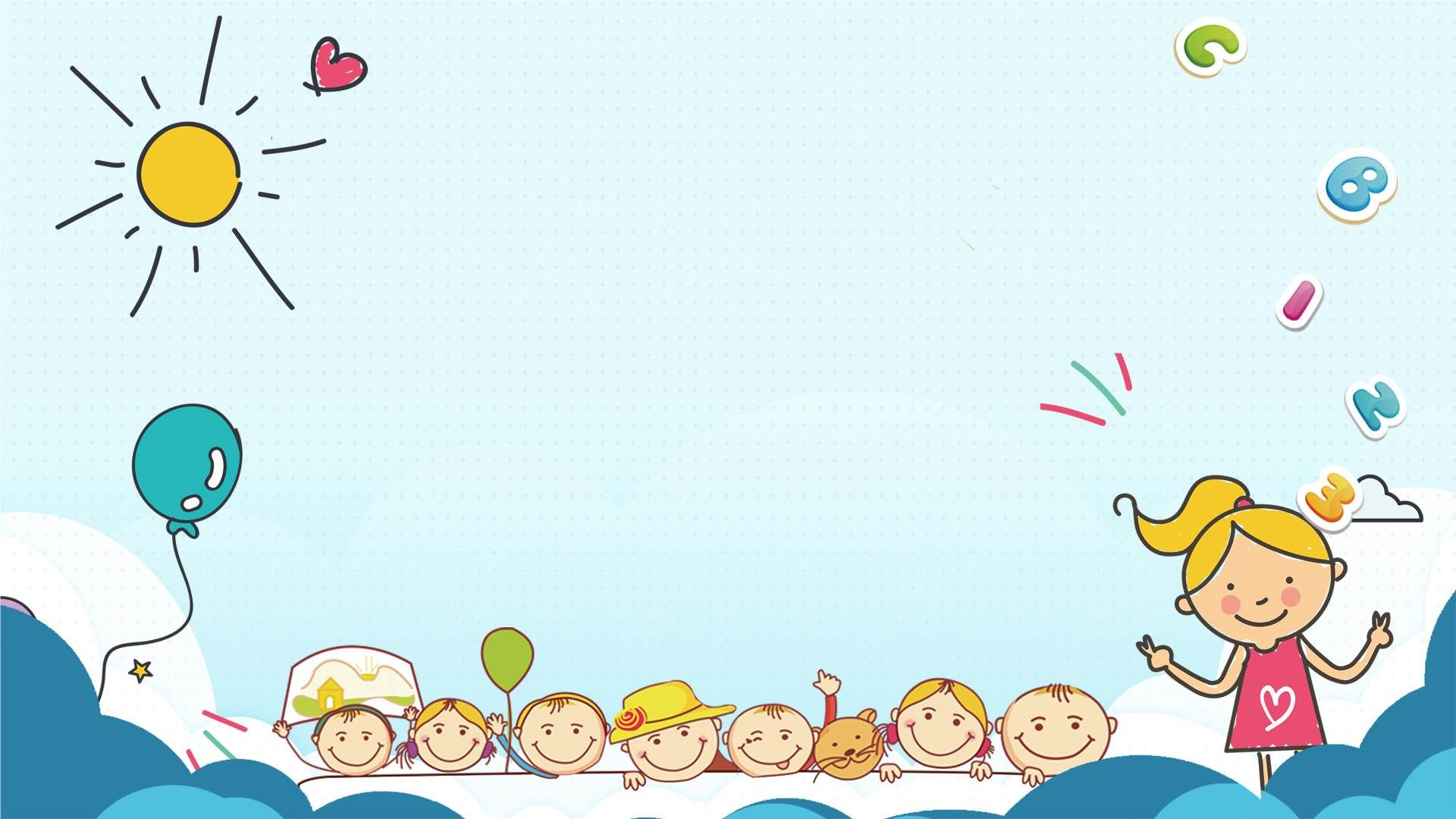 3 cute childrens cartoon ppt backgrounds childrens theme series 1920x1080