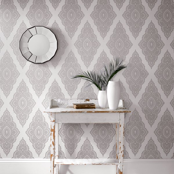 Jewel Pearl Silver Wallpaper by Graham and Brown 600x600