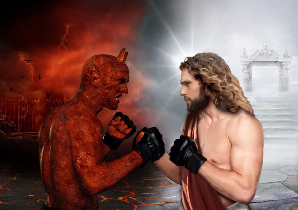 The winner takes it all...Devil vs Jesus by RinatArt on DeviantArt
