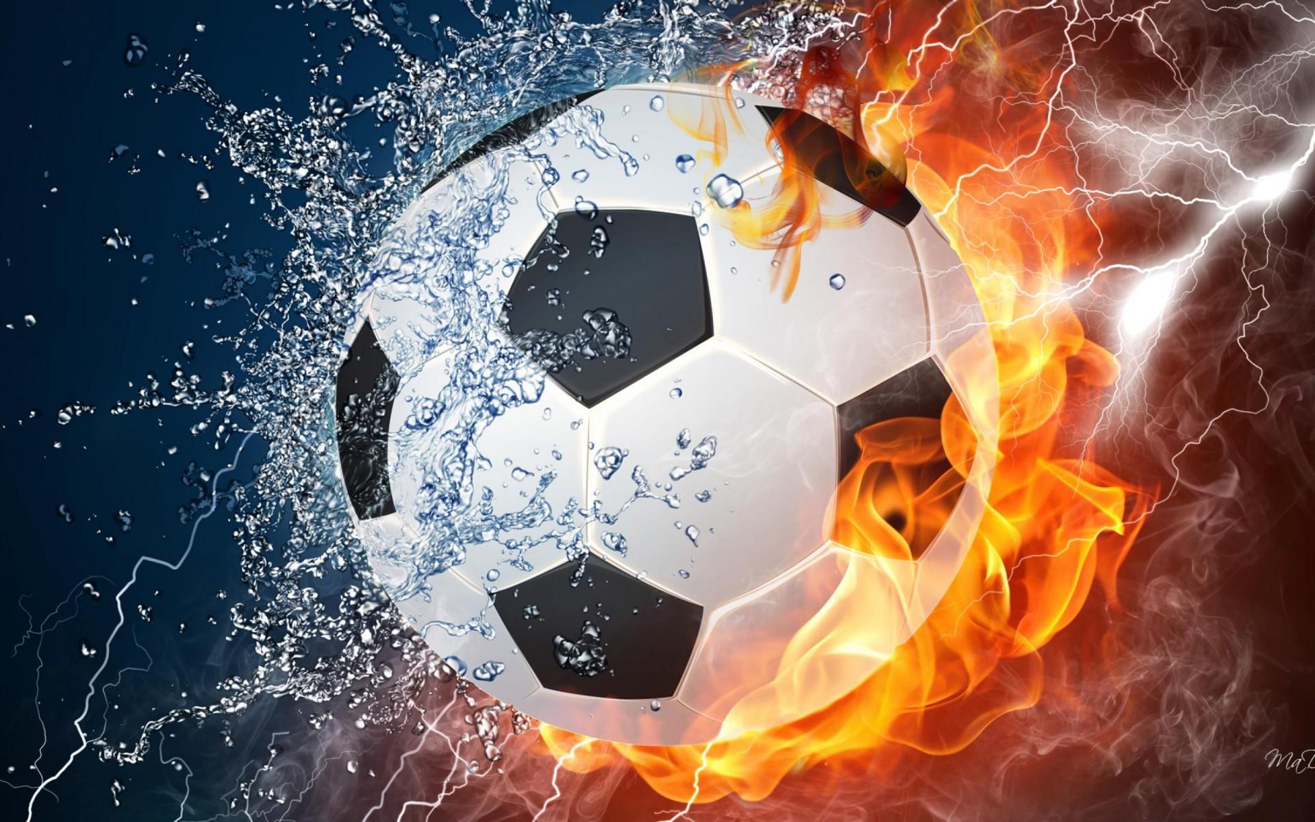 Cool soccer balls on fire