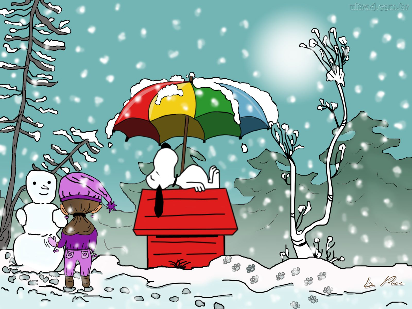 charlie brown snoopy snow holiday wallpaper 1600x1200