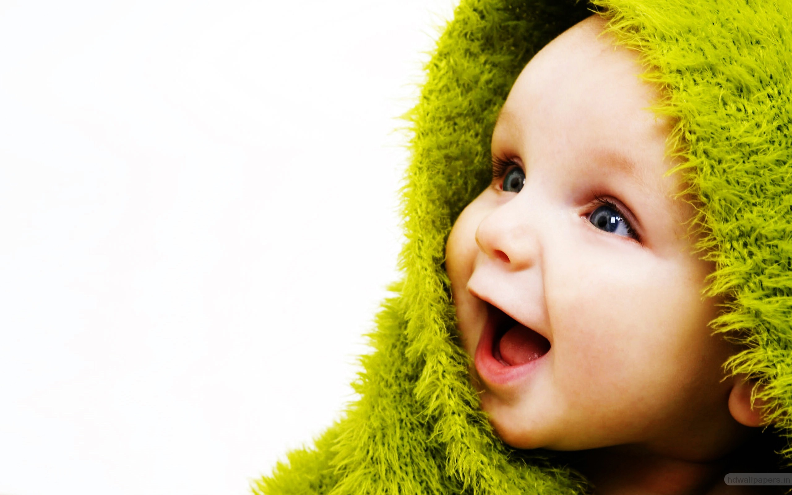 Cute Small Baby with Smile in Green Wallpapers HD Wallpapers 2560x1600
