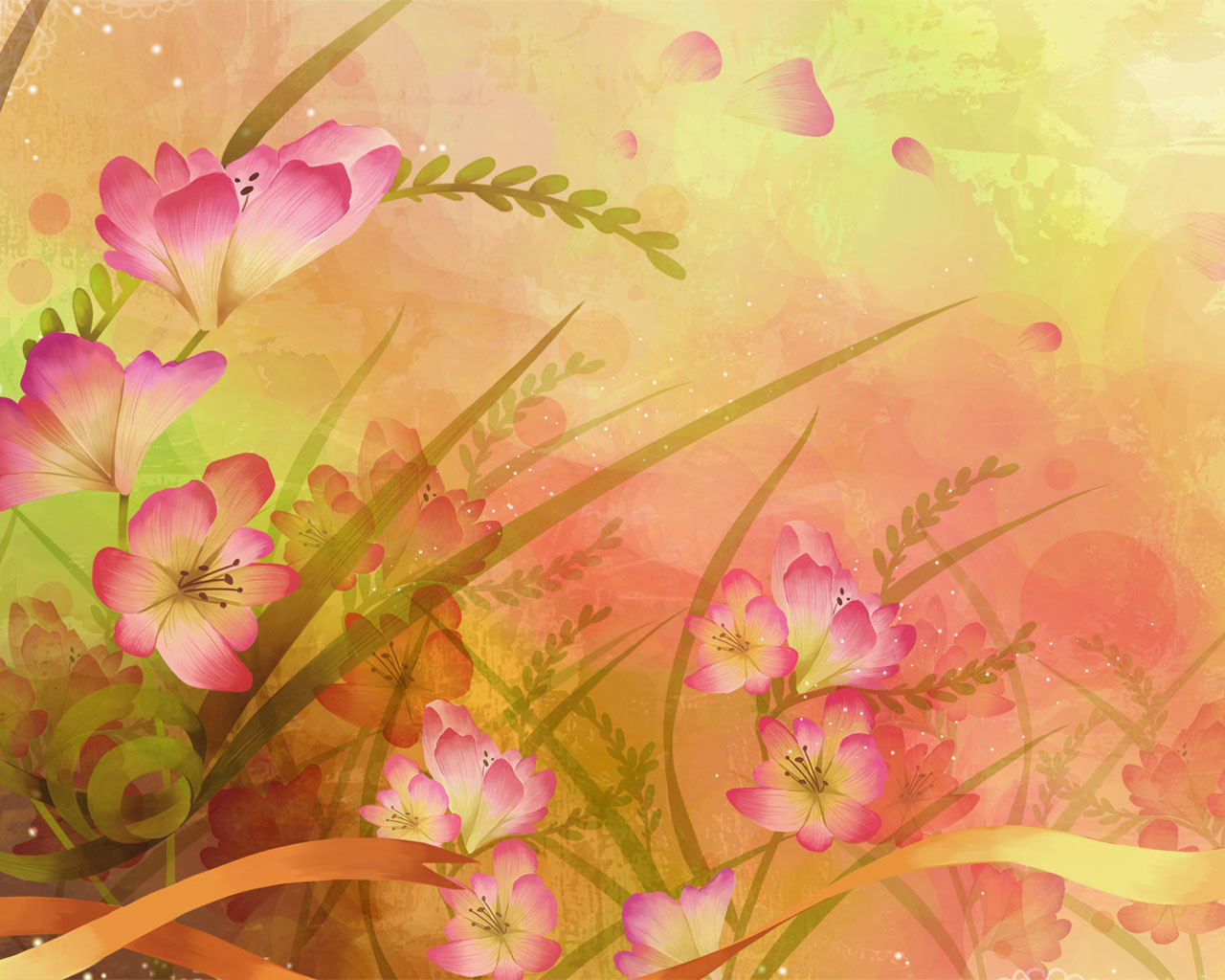 Illustration of Abstract Floral Background 1280x1024